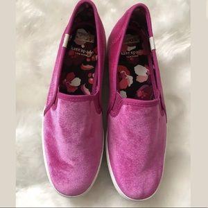 Kate Spade Keds Platform Loafers Pink Velvet sz 7